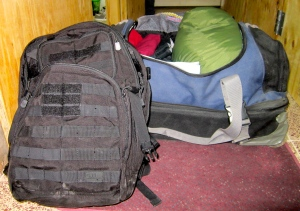 One rolling duffel backpack and a backpack --- love traveling light!!