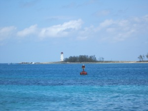 Love a lighthouse to help guide the way, plus the crystal clear blue water!