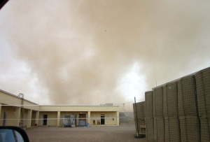Beginning of the SandStorm heading towards our Compound